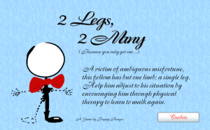 Title screen for 2 Legs, 2 Many